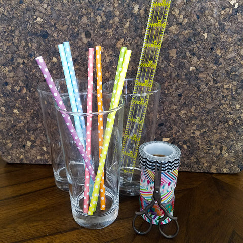 Supplies for Washi Tape Flags for Straws