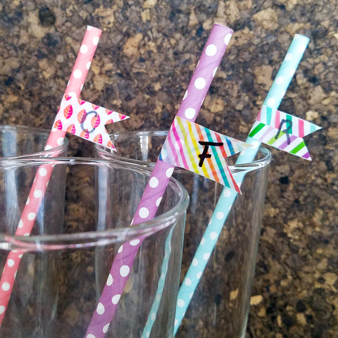 Washi Tape Flags on Straws with Initials