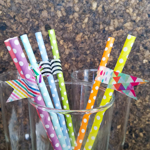 Yellow Straw with Bold Triangle Washi Tape