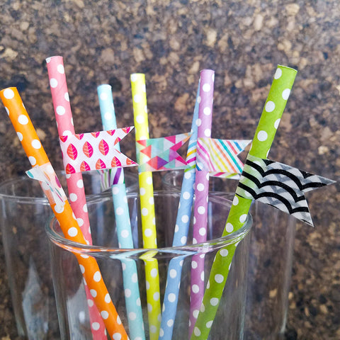 Green Straw with Contrasting Black Washi Tape
