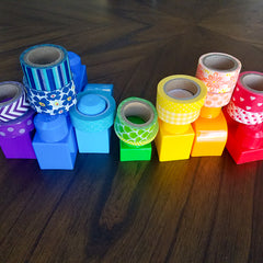 Pairing washi tapes with your large building blocks