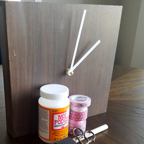 Supplies for DIY Washi Tape Covered Clock