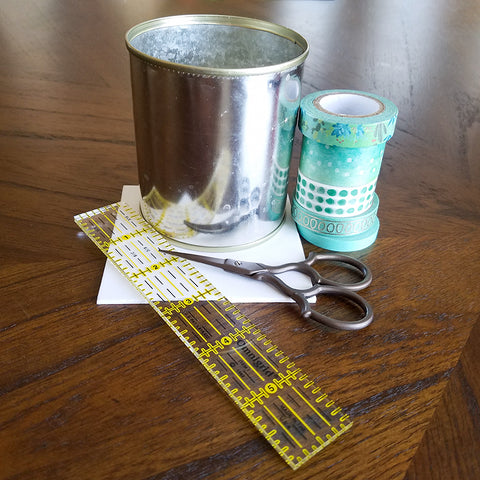 Supplies for Washi Tape Covered Can