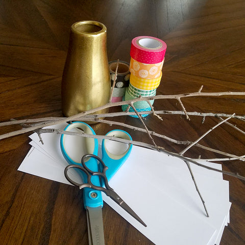 Supplies for Washi Tape Leaf Decor Project