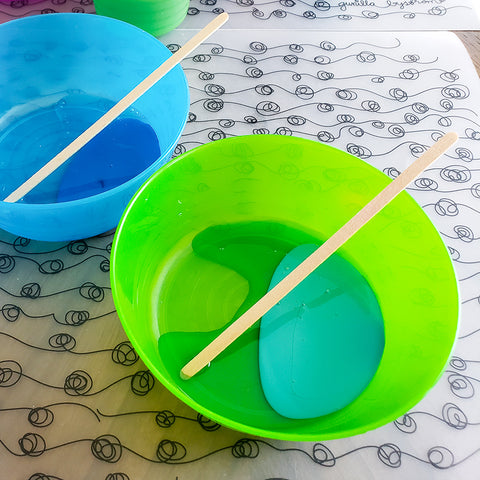 Mixing Paint and Dish Soap for Bubble Art