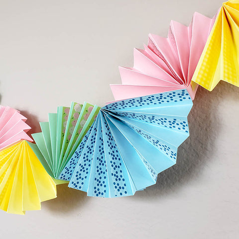 Finished Paper Fan Garland with Washi Tape