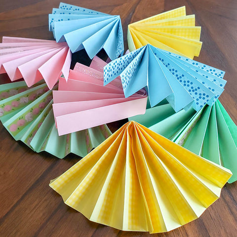 Completed Paper Fans, Ready to Become a Garland