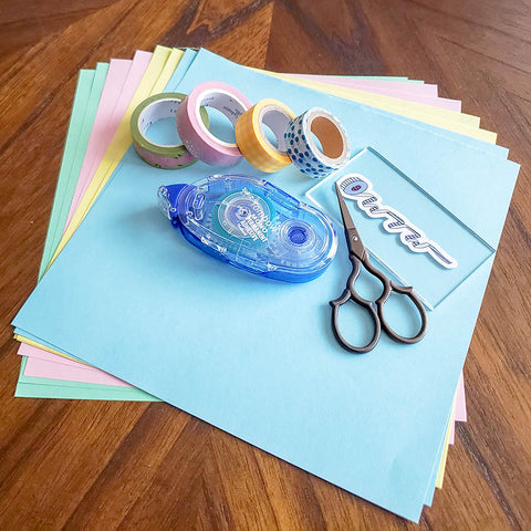 Supplies for Paper Fan Garland with Washi Tape