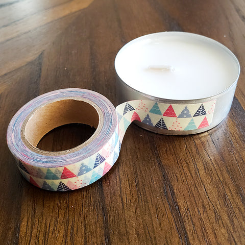Applying Washi Tape to the Tea Light