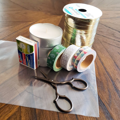 Supplies for a Washi Tape Tea Light Gift
