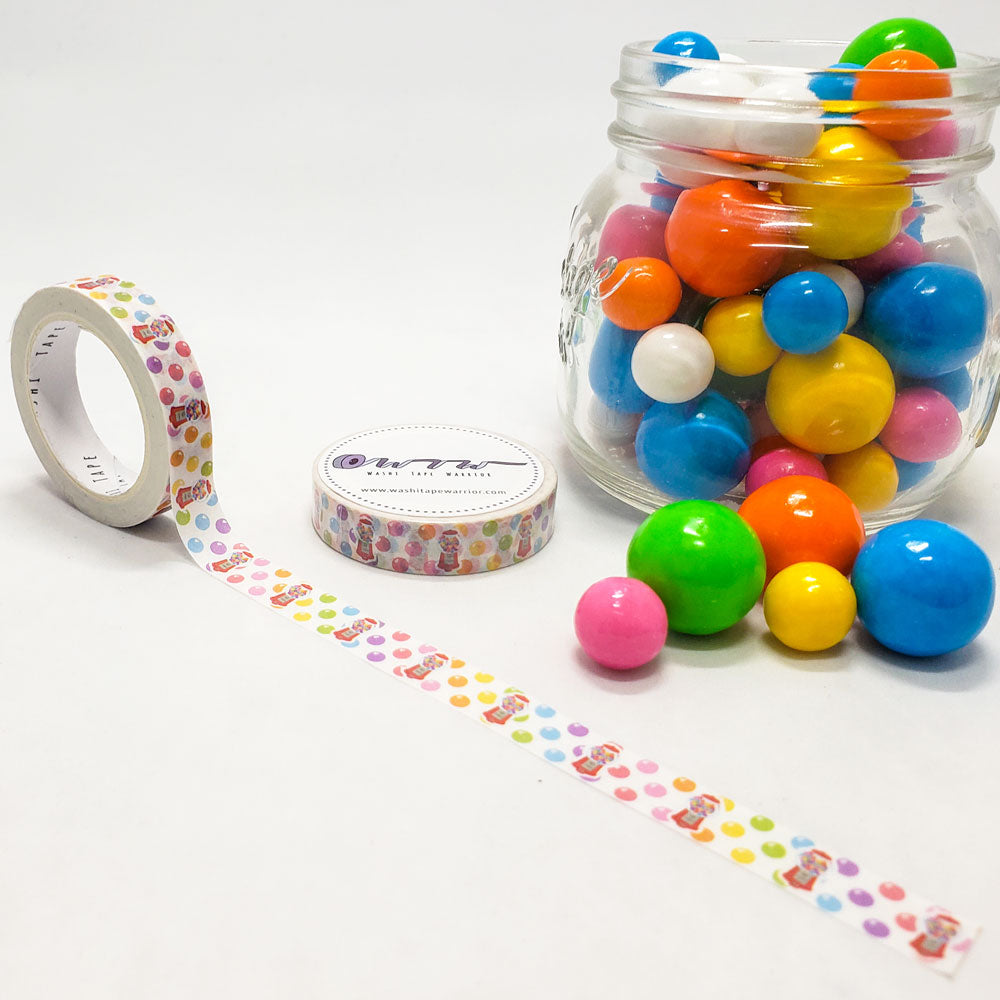 candy washi tape, gumballs, gumball machine, bright colors