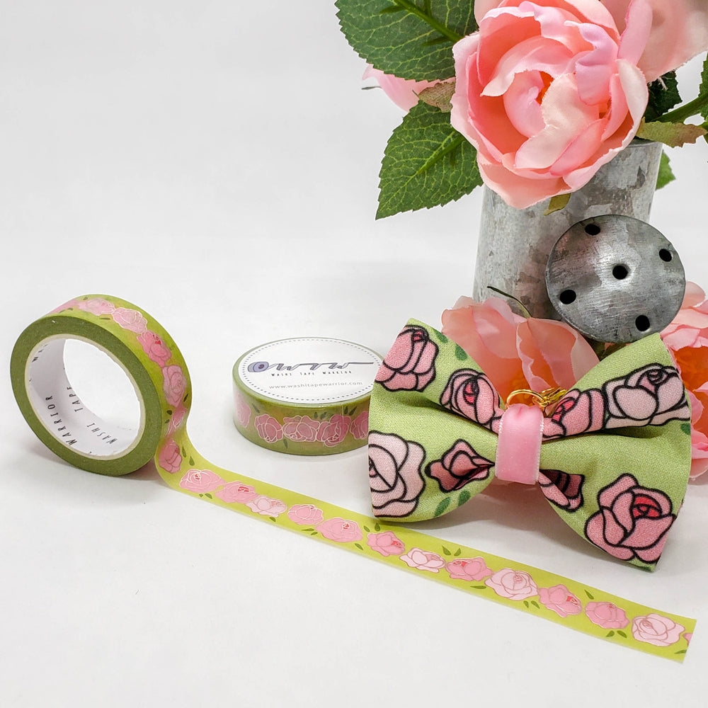 Floral - Cabbage Roses Washi Roll with Bow