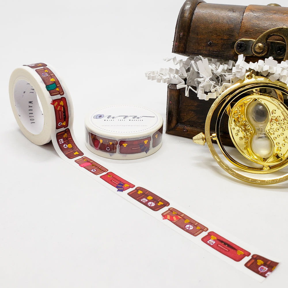 wizarding world washi tape, harry potter, school trunks, suitcase trunks