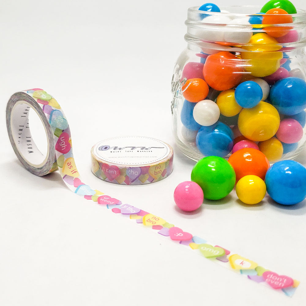 candy washi tape, conversation hearts, sassy, bright colors