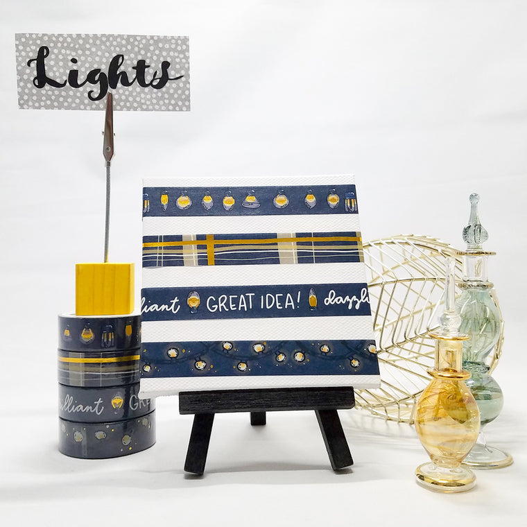 lights collection, set of 4 rolls, washi tape, bulbs and ideas on dark blue