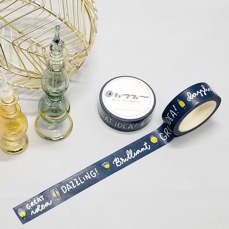 bright ideas, words on dark blue, lights collection, washi tape