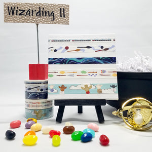 washi tape coordinated set for harry potter fans, 5 rolls, train, magic, broomsticks, owl post, and wands