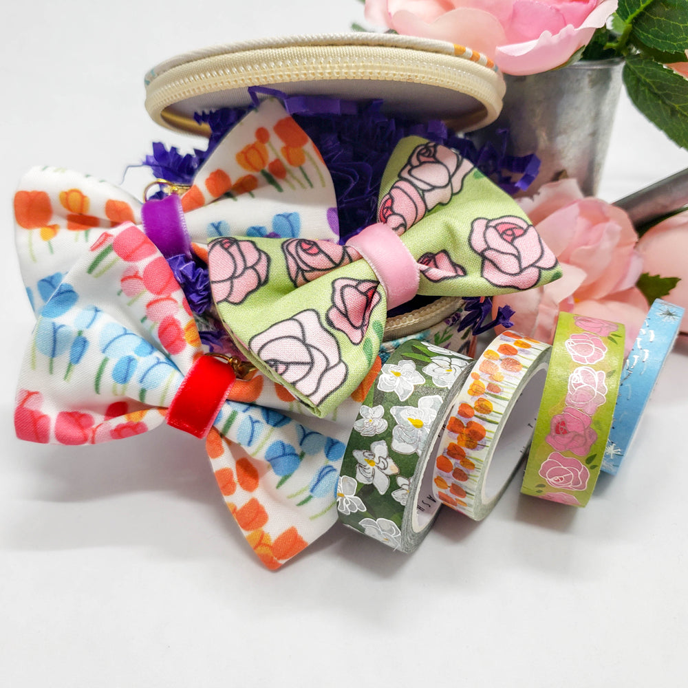 Floral Washi Set with Two Bows