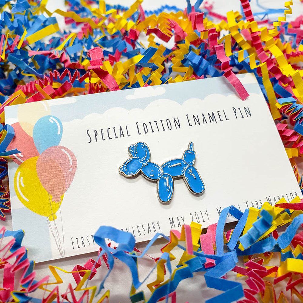 enamel pin, balloon dog, blue