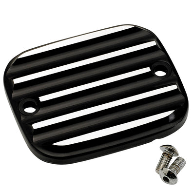Front Master Cylinder Cover 96-up Finned Black Silver