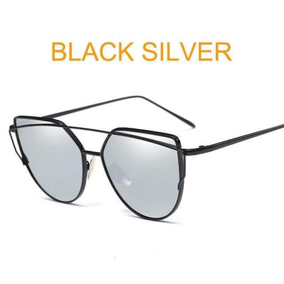 La Belle Sophie 6627 black silver Cat Eye Vintage  Mirror Sunglasses