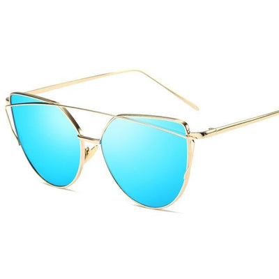 La Belle Sophie 6627 gold blue Cat Eye Vintage  Mirror Sunglasses