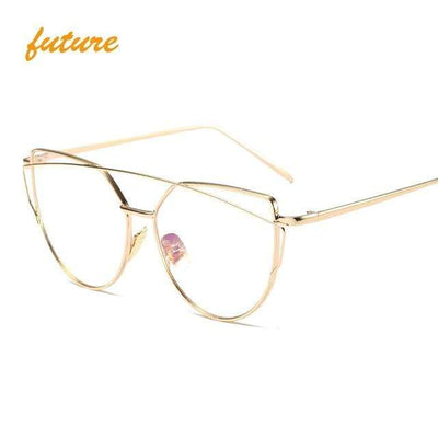 La Belle Sophie 6627 gold clear Cat Eye Vintage  Mirror Sunglasses