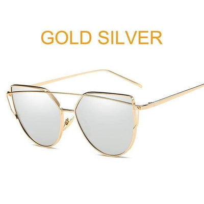 La Belle Sophie 6627 gold sliver Cat Eye Vintage  Mirror Sunglasses