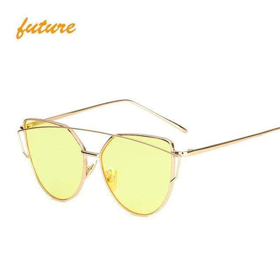 La Belle Sophie 6627 gold yellow O Cat Eye Vintage  Mirror Sunglasses