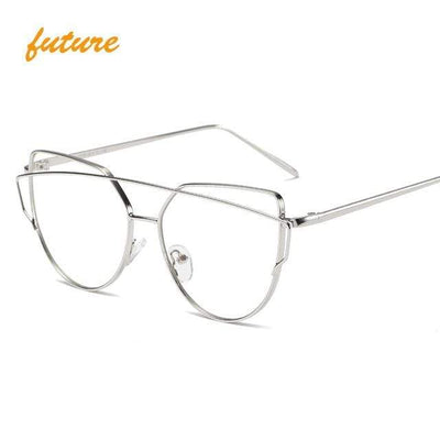La Belle Sophie 6627 silver clear Cat Eye Vintage  Mirror Sunglasses