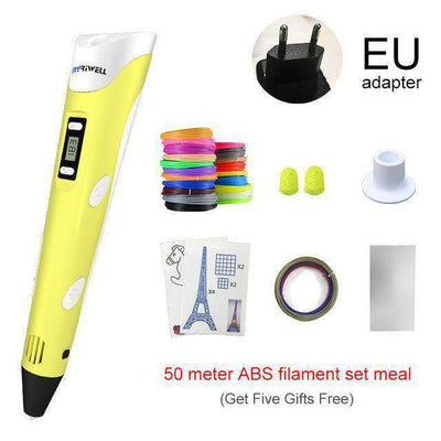 La Belle Sophie Add 50M 10Color ABS / Yellow EU 3D Printer Magic Pen