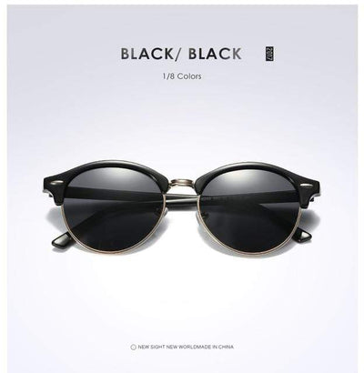 La Belle Sophie Black Black Semi Rimless Polarized Round Sunglasses