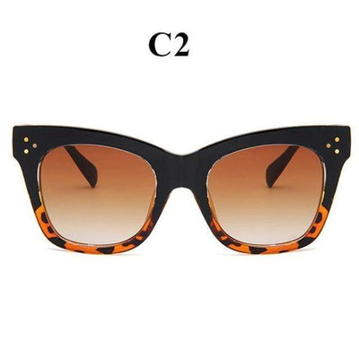 La Belle Sophie black leopard Oversized Vintage Cat Eye Sunglasses