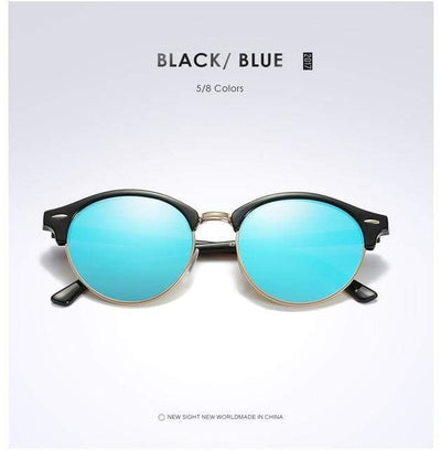 La Belle Sophie Blue Semi Rimless Polarized Round Sunglasses