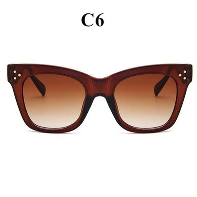 La Belle Sophie brown Oversized Vintage Cat Eye Sunglasses