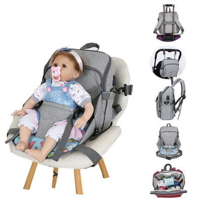 La Belle Sophie dark blue Baby Diaper Bag With USB and Safety Seat Belt