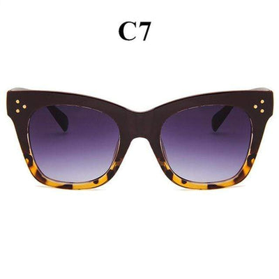 La Belle Sophie gradient leopard Oversized Vintage Cat Eye Sunglasses