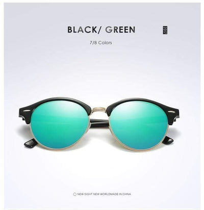 La Belle Sophie Green Semi Rimless Polarized Round Sunglasses