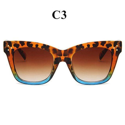 La Belle Sophie leopard blue Oversized Vintage Cat Eye Sunglasses