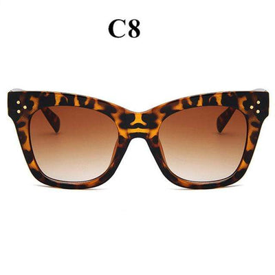 La Belle Sophie leopard Oversized Vintage Cat Eye Sunglasses