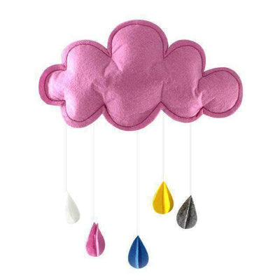 La Belle Sophie Pink Baby Pillow Kids Room Decoration Handmade Raining Clouds