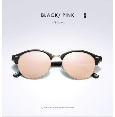 La Belle Sophie Pink Semi Rimless Polarized Round Sunglasses