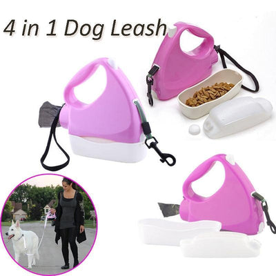 La Belle Sophie pink white / 3m 4 in 1 Retractable Dog Leash with Food and bottle water