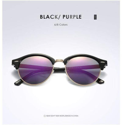 La Belle Sophie Purple Semi Rimless Polarized Round Sunglasses