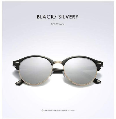 La Belle Sophie Silver Semi Rimless Polarized Round Sunglasses