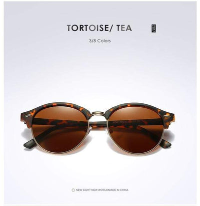 La Belle Sophie Tortoise Brown Semi Rimless Polarized Round Sunglasses