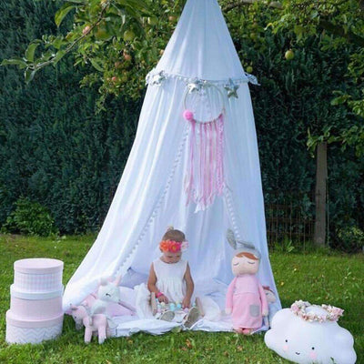 La Belle Sophie White / 240cm Cotton baby room decoration Balls Mosquito Net bed curtain canopy