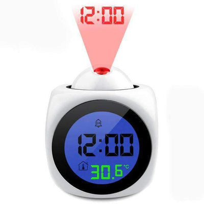 La Belle Sophie White LCD Talking Projection Alarm Clock