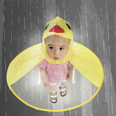 La Belle Sophie Yellow / S Cute Duck Designed Hooded Raincoat for kids