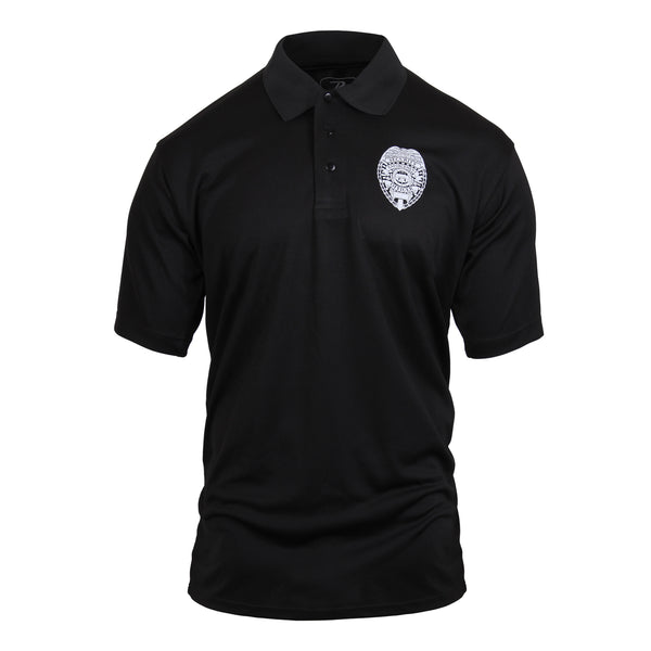 Rothco Moisture Wicking Polo Security T-Shirt Black (3627) / T-Shirts - Iceberg Army Navy